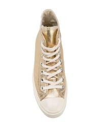 ee655361fdc ... Zapatillas altas de cuero doradas de Converse