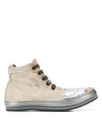 Zapatillas altas de cuero en beige de A Diciannoveventitre