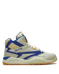 Zapatillas altas de cuero en blanco y azul marino de Ewing