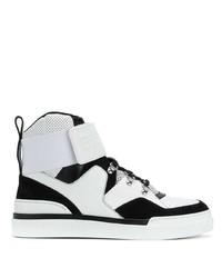 Zapatillas altas de cuero en blanco y negro de Balmain