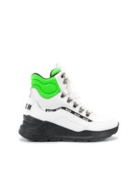 Zapatillas altas de cuero en blanco y negro de MSGM