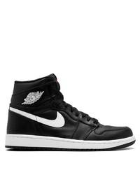 Zapatillas altas de cuero en negro y blanco de Jordan