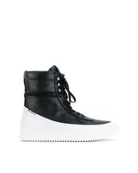 Zapatillas altas de cuero en negro y blanco de Newams