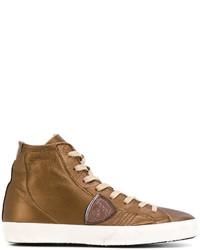 Zapatillas altas de cuero en tabaco de Philippe Model