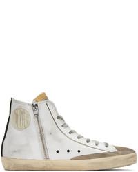 Zapatillas altas de cuero estampadas blancas