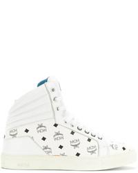 Zapatillas altas de cuero estampadas blancas de MCM