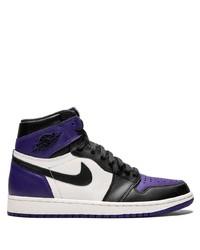 Zapatillas altas de cuero estampadas en negro y blanco de Jordan