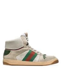 Zapatillas altas de cuero estampadas marrón claro de Gucci