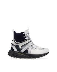 Zapatillas altas de cuero grises de Ganni