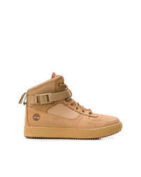 Zapatillas altas de cuero marrón claro de Timberland