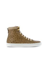 Zapatillas altas de cuero marrónes de Giuliano Galiano