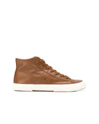 Zapatillas altas de cuero marrónes de Ralph Lauren