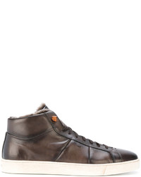 Zapatillas altas de cuero marrónes de Santoni