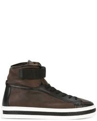 Zapatillas altas de cuero marrónes de Sergio Rossi