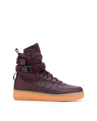 Zapatillas altas de cuero morado oscuro de Nike