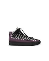 Zapatillas altas de cuero morado oscuro de Swear