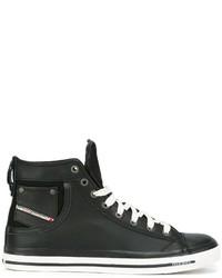 Zapatillas altas de cuero negras de Diesel
