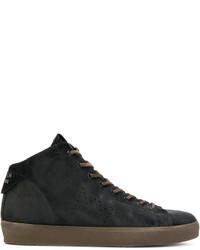 Zapatillas altas de cuero negras de Leather Crown