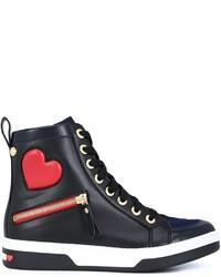 Zapatillas altas de cuero negras de Love Moschino