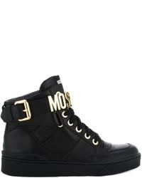 Zapatillas altas de cuero negras de Moschino