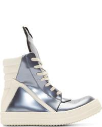 Zapatillas altas de cuero plateadas