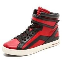 Zapatillas altas de cuero rojas