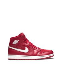 Zapatillas altas de cuero rojas de Jordan