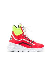 Zapatillas altas de cuero rojas de MSGM