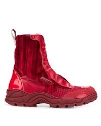 Zapatillas altas de cuero rojas de Rombaut
