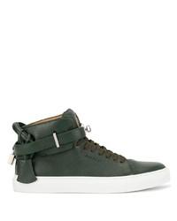 Zapatillas altas de cuero verde oscuro de Buscemi