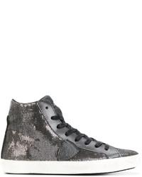 Zapatillas altas de lentejuelas con adornos en gris oscuro de Philippe Model