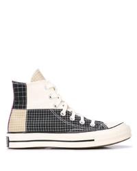 Zapatillas altas de lona a cuadros en negro y marrón claro de Converse