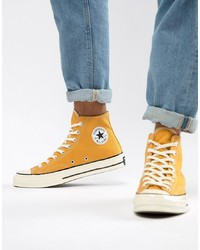 Zapatillas altas de lona amarillas