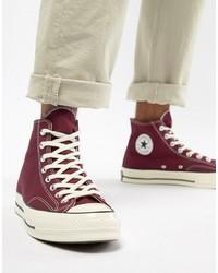 Zapatillas altas de lona burdeos