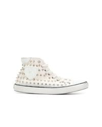 Zapatillas altas de lona con tachuelas blancas de Saint Laurent