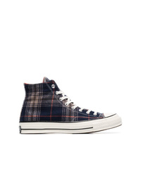 Zapatillas altas de lona de tartán azul marino de Converse