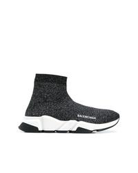 Zapatillas altas de lona en negro y blanco de Balenciaga