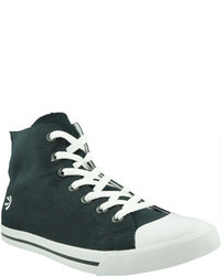 Zapatillas Altas de Lona en Negro y Blanco de Burnetie