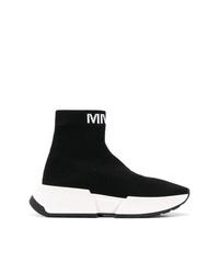 Zapatillas altas de lona en negro y blanco de MM6 MAISON MARGIELA
