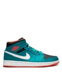 Zapatillas altas de lona en verde azulado