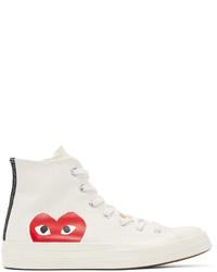 Zapatillas altas de lona estampadas blancas