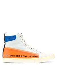 Zapatillas altas de lona estampadas blancas de Diesel