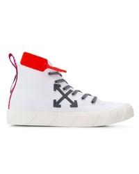 Zapatillas altas de lona estampadas blancas de Off-White