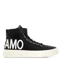 Zapatillas altas de lona estampadas en negro y blanco de Salvatore Ferragamo
