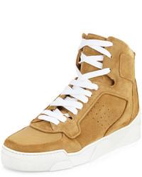 Zapatillas altas de lona marrón claro