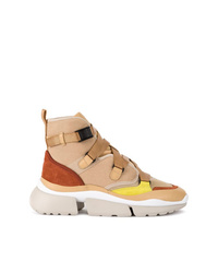 Zapatillas altas de lona marrón claro de Chloé