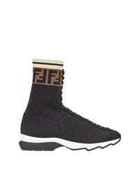Zapatillas altas de lona negras de Fendi