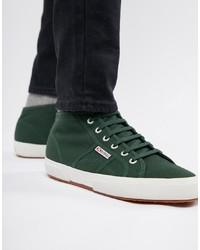 Zapatillas altas de lona verde oscuro