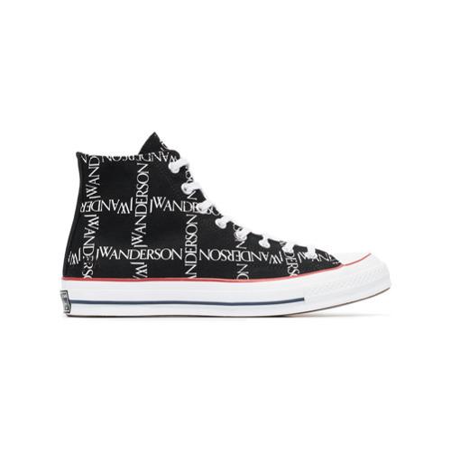 Pensar en el futuro Literatura licencia  Zapatillas altas estampadas en negro y blanco de Converse X JW ...