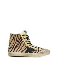 Zapatillas altas estampadas marrón claro de Golden Goose Deluxe Brand